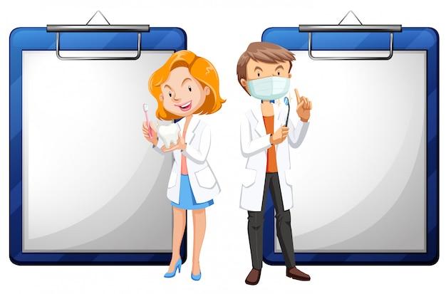 Dois dentistas e white papers Vetor grátis