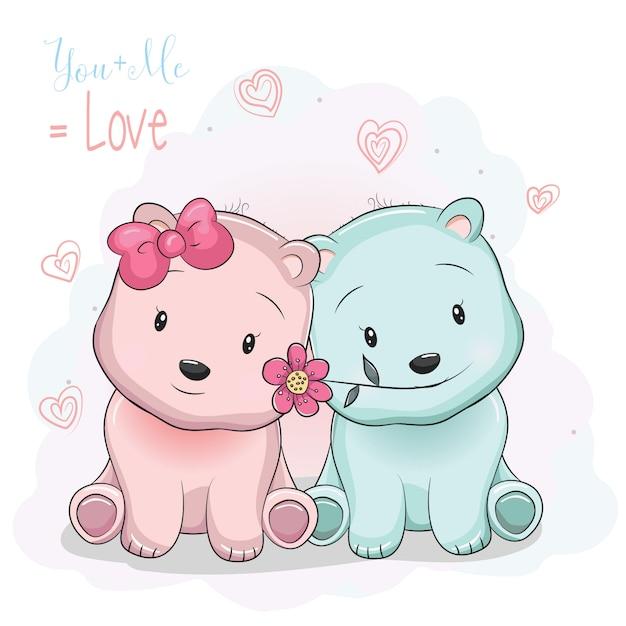 Dois Desenhos Animados Bonitos Ursos Menino E Menina No Fundo Do Amor Vetor Premium