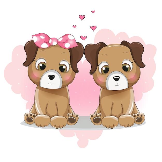 Dois Desenhos Animados De Cachorro Fofo No Coração De
