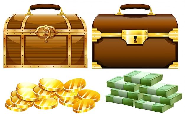 Dois desenhos de baús com ouro e dinheiro Vetor Premium