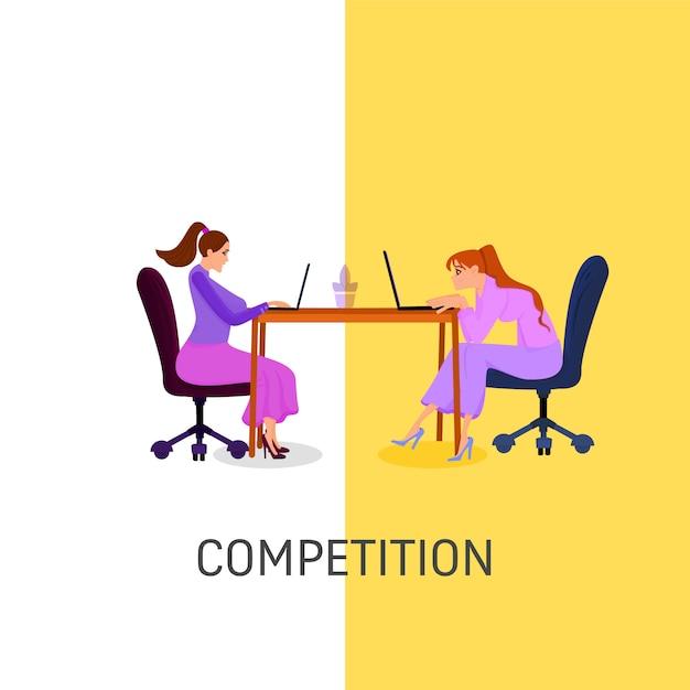 Dois empregados das mulheres competem em um portátil, estilo liso. área de trabalho. coworking Vetor Premium