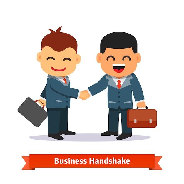 Dois empresários apertando as mãos Vetor grátis