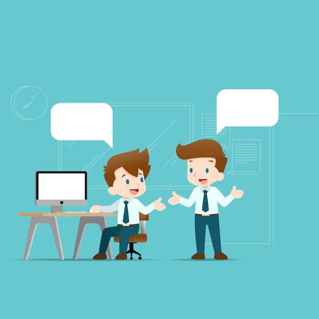 Dois empresários discutindo um ao outro. Vetor Premium