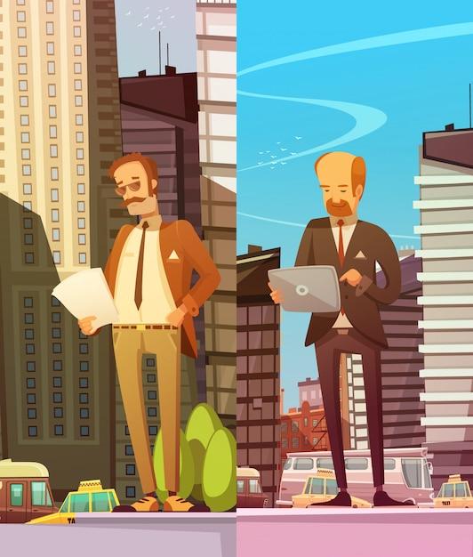 Dois empresários lendo documentos eletrônicos e em papel Vetor grátis