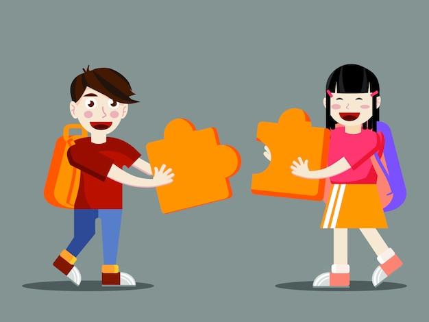 Dois, estudantes, conectando, grande, jigsaw, pedaços Vetor Premium