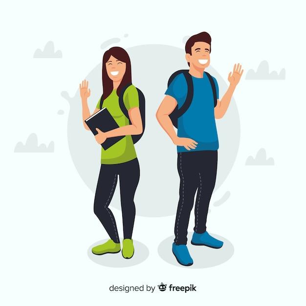 Dois, estudantes, dizendo olá Vetor Premium