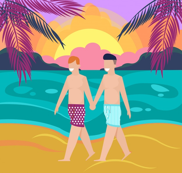 Dois, feliz sorrindo, meninos homossexuais, andar praia Vetor Premium