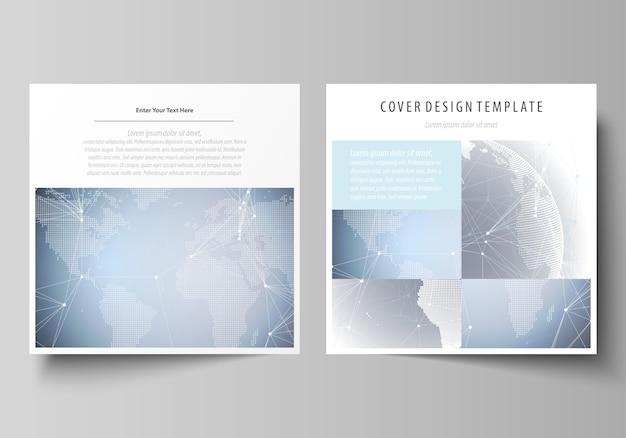 Dois formato quadrado abrange modelos para brochura Vetor Premium