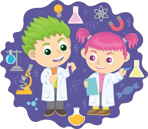 Dois garotinho fazendo experimentos químicos Vetor Premium