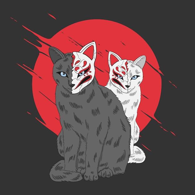 Dois gatos desenhados à mão com máscara de estilo japonês Vetor Premium