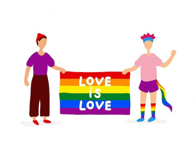 Dois gays segurando bandeira arco-íris Vetor Premium
