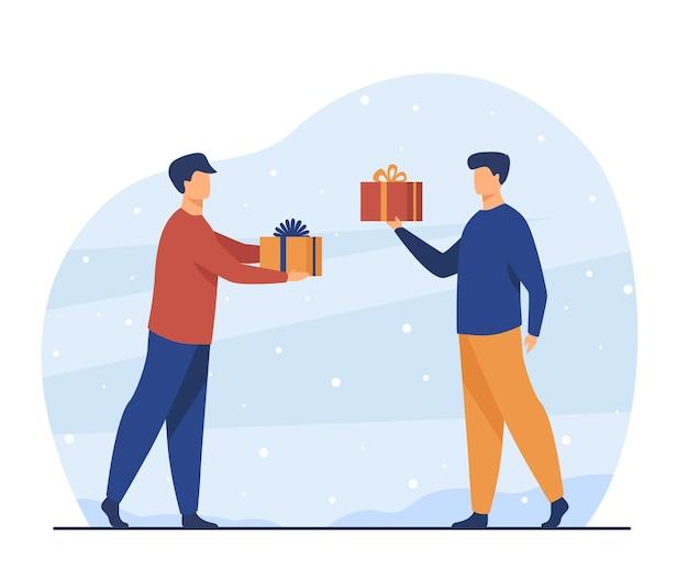 Dois homens dando presentes um ao outro. amigo, presente, ilustração plana de festa. ilustração de desenho animado Vetor grátis