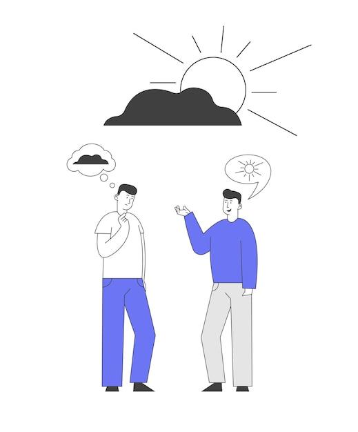 Dois homens discutindo entre si, tendo diferentes pontos de vista e atitudes de vida. Vetor Premium