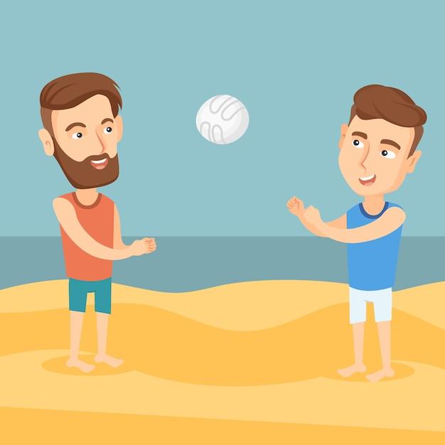 Dois homens jogando vôlei de praia. Vetor Premium