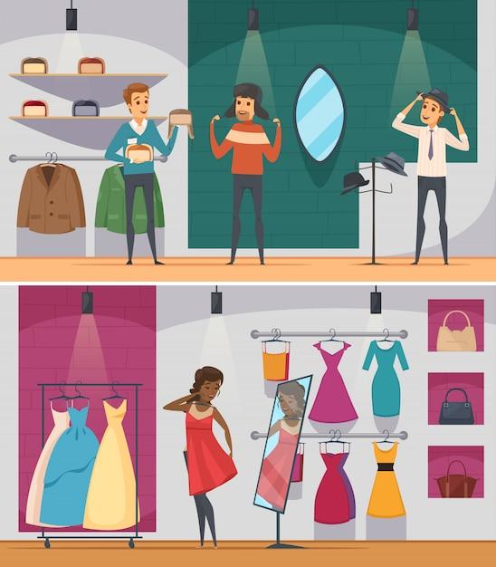 Dois horizontal tentando loja plana pessoas composição definida com homem tentando chapéu e mulher experimentando um vestido Vetor grátis