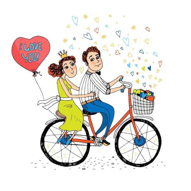 Dois jovens apaixonados andando de bicicleta tandem com um balão vermelho em forma de coração com as palavras Vetor grátis