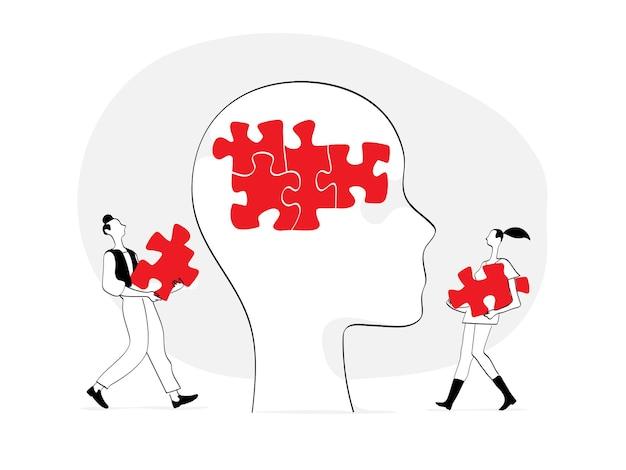 Dois jovens completando o quebra-cabeça na cabeça humana Vetor Premium