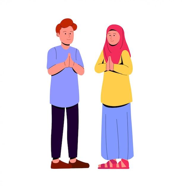 Dois jovens muçulmanos casal rezando o gesto Vetor Premium