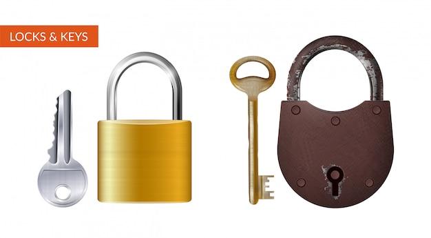 Dois kits realistas de cadeado com chave para proteção de segurança isolada Vetor grátis