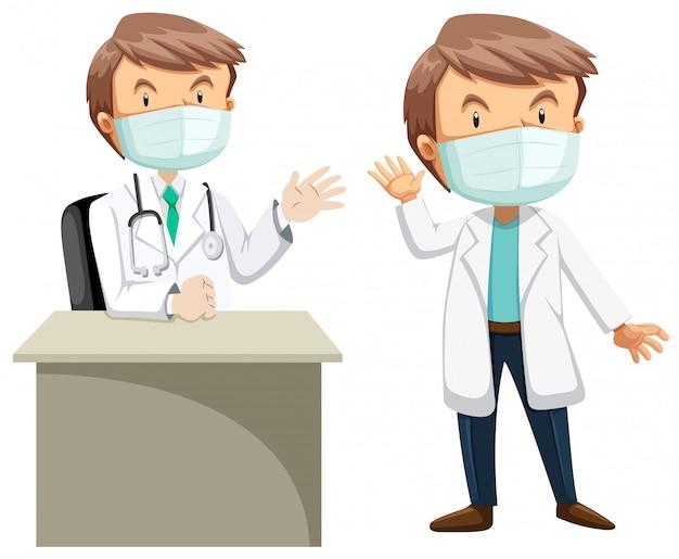 Dois médicos em vestido branco Vetor grátis