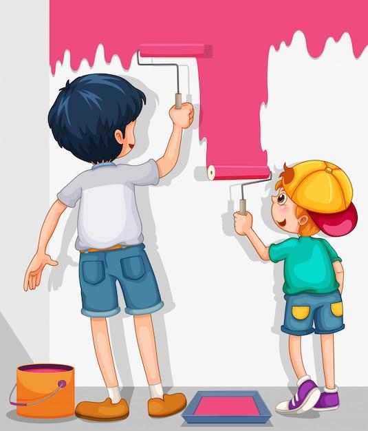 Dois meninos pintando a parede de rosa Vetor grátis