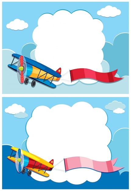 Dois modelos de borda com avião no céu Vetor Premium