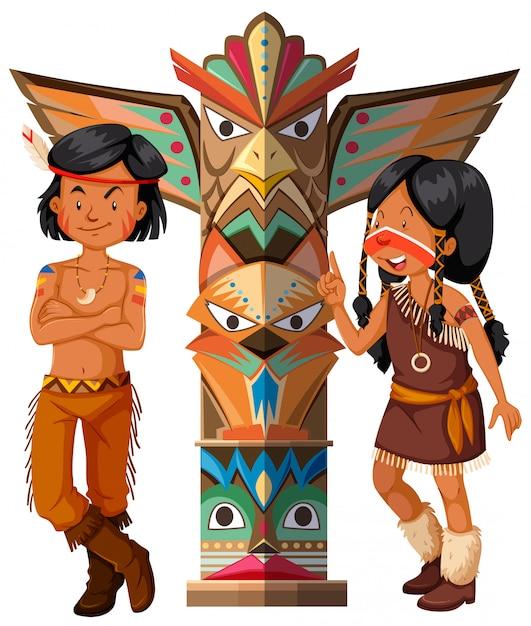 Dois nativos americanos e totem pole Vetor grátis