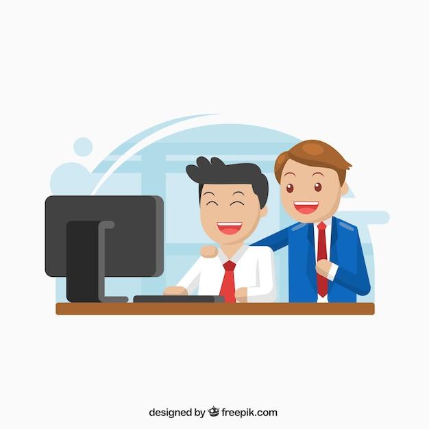Dois, negócio, personagem, trabalhando, junto Vetor grátis