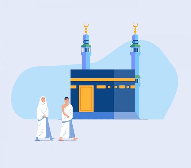 Dois peregrinação hajj percorrendo kaaba Vetor Premium