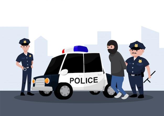 Dois policiais prendendo um criminoso em um carro de polícia, estilo cartoon plana. Vetor Premium