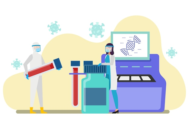 Dois profissionais de saúde analisam os resultados do teste rápido e do swab em um laboratório Vetor Premium