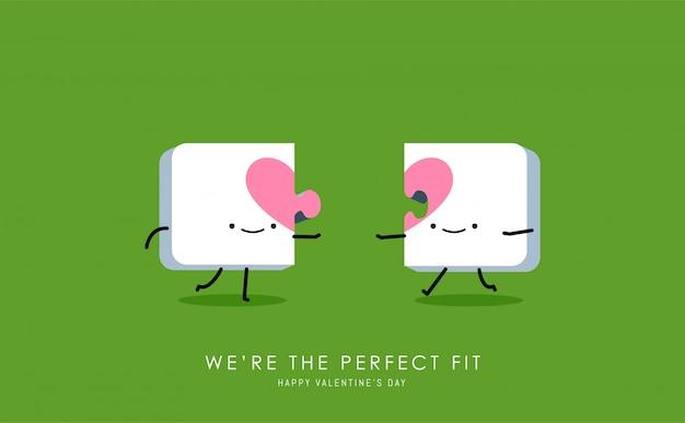Dois quebra-cabeças de coração. Vetor Premium