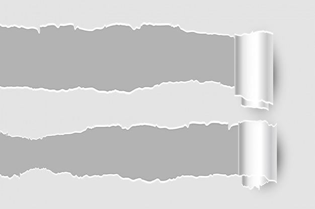 Dois rasgando a página de folha de papel rasgado Vetor grátis