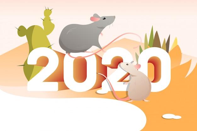 Dois ratos e cactos Vetor grátis