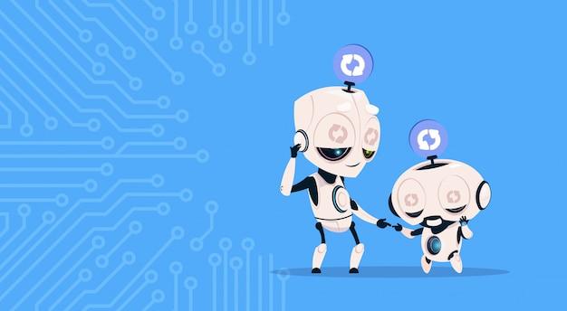 Dois robôs bonitos dormindo atualização software de programação do sistema sobre o fundo do circuito Vetor Premium