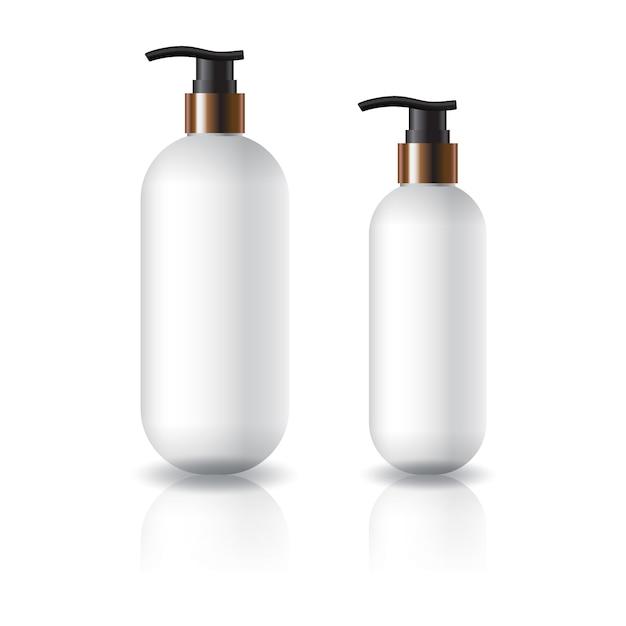 Dois tamanhos de frasco cosmético redondo oval branco com cabeça de bomba. Vetor Premium