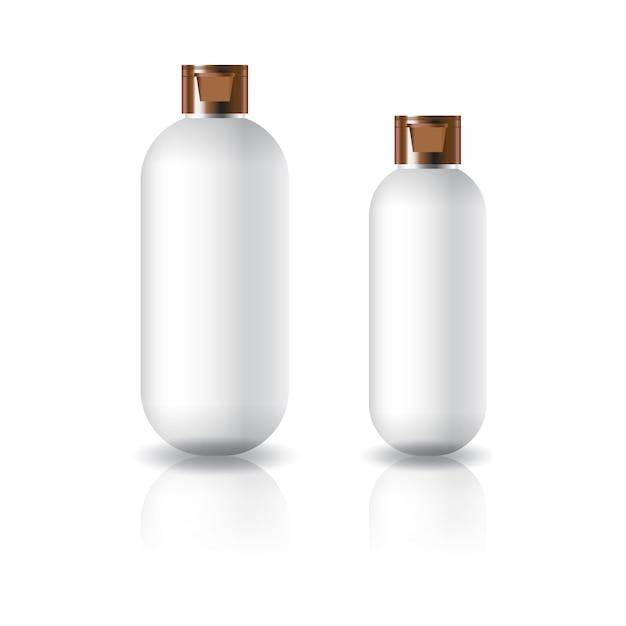 Dois tamanhos de frasco cosmético redondo oval branco com tampa de cobre. Vetor Premium