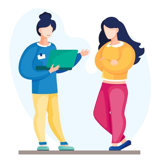 Dois trabalhadores de escritório conversando, discutindo novo projeto. Vetor Premium