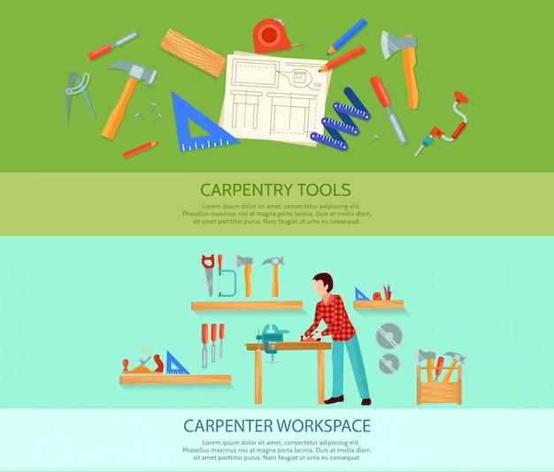 Dois trabalhos de carpintaria bandeiras lisas ajustadas com ilustração do vetor das ferramentas da carpintaria Vetor grátis
