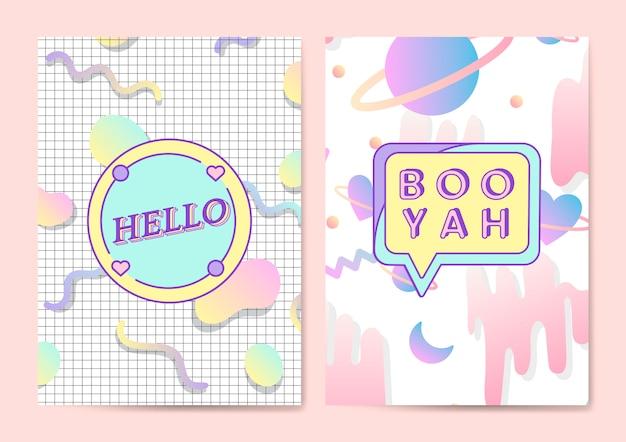 Dois vetores de cartaz feminino e fofo Vetor grátis