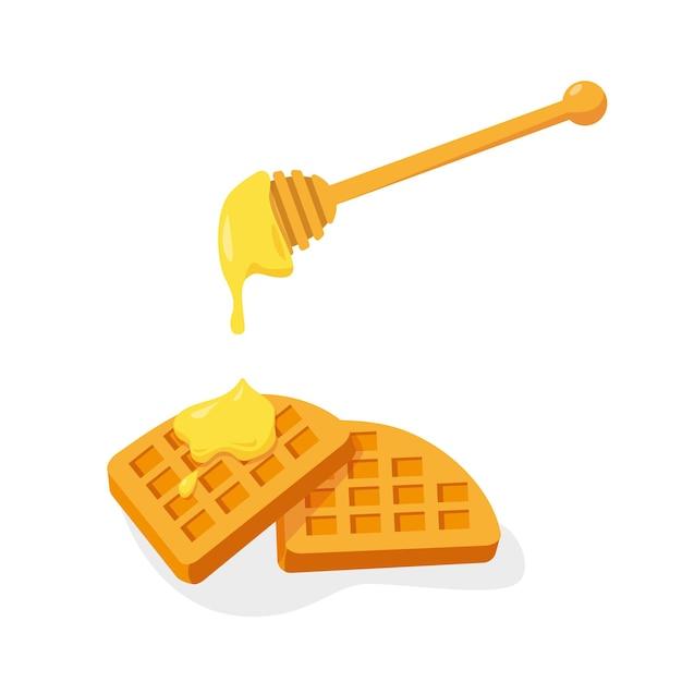 Dois waffles com mel isolado no fundo branco. Vetor Premium
