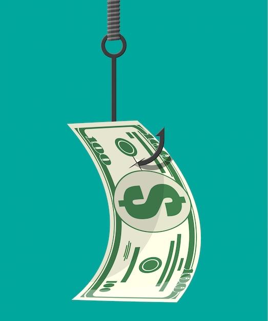 Dólar no anzol de pesca. conceito de armadilha de dinheiro. Vetor Premium