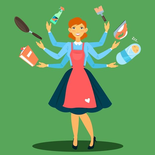 Dona de casa bem sucedida. mulher multitarefa. esposa perfeita. jovem mãe. Vetor Premium