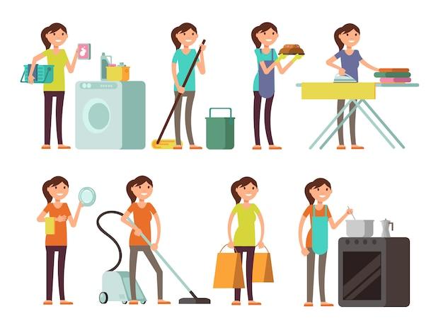 Dona de casa dos desenhos animados no jogo do vetor da atividade do housework. mulher feliz, executar, lar Vetor Premium