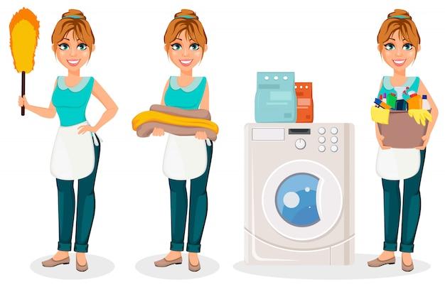 Dona de casa feliz personagem de desenho animado alegre mãe Vetor Premium