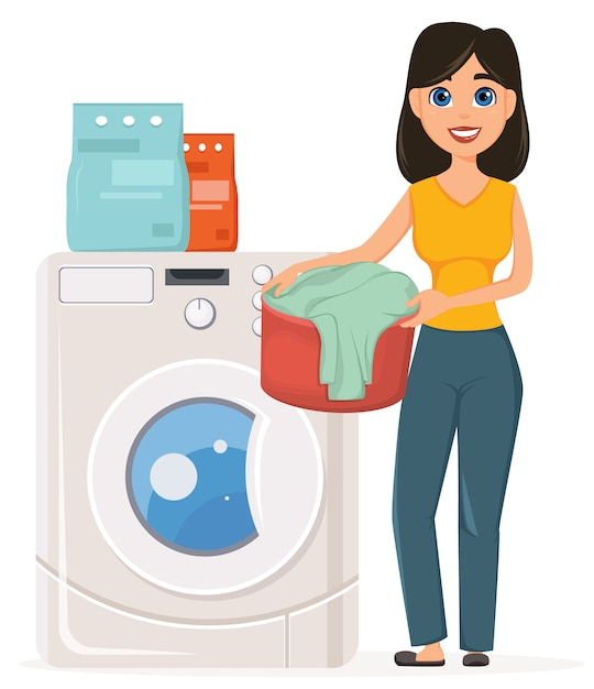 Dona de casa lava roupa na máquina de lavar roupa Vetor Premium