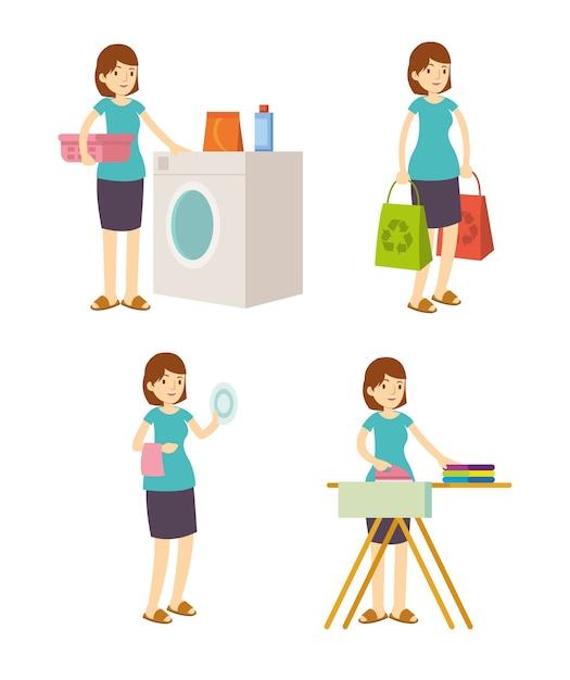Dona de casa mãe lava, ferro, compras e limpeza Vetor Premium