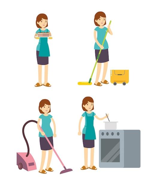 Dona de casa mãe limpeza, cozinhar e trabalhar Vetor Premium