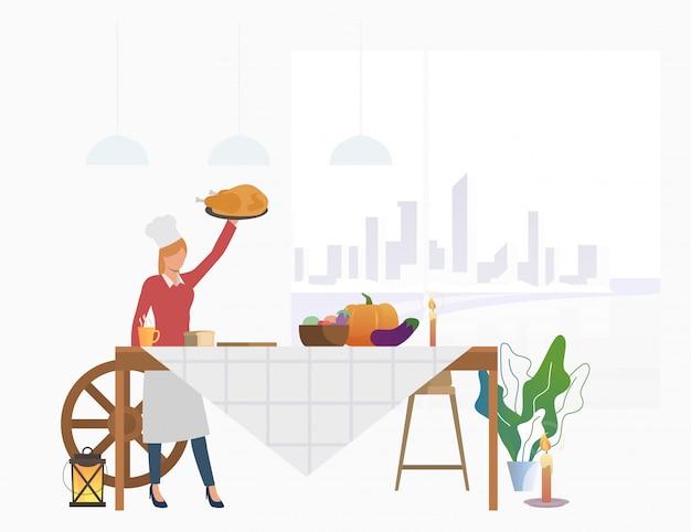 Dona de casa trazendo peru para mesa de festa Vetor grátis