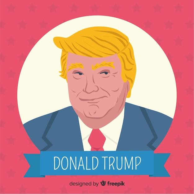 Donald trump retrato com design plano Vetor grátis